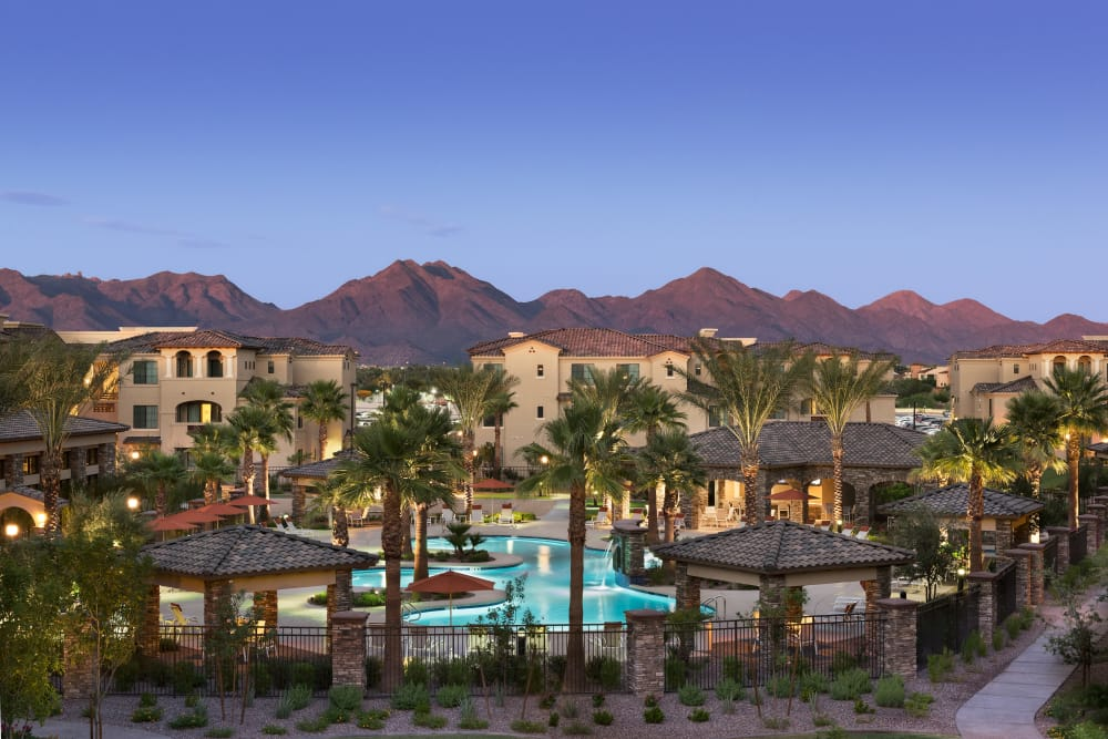 View of our community with mountains in the background at San Milan in Phoenix, Arizona