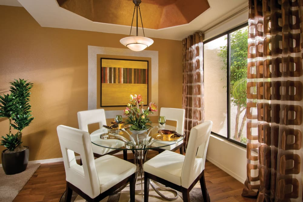 Well-decorated dining area in model home at San Palmilla in Tempe, Arizona
