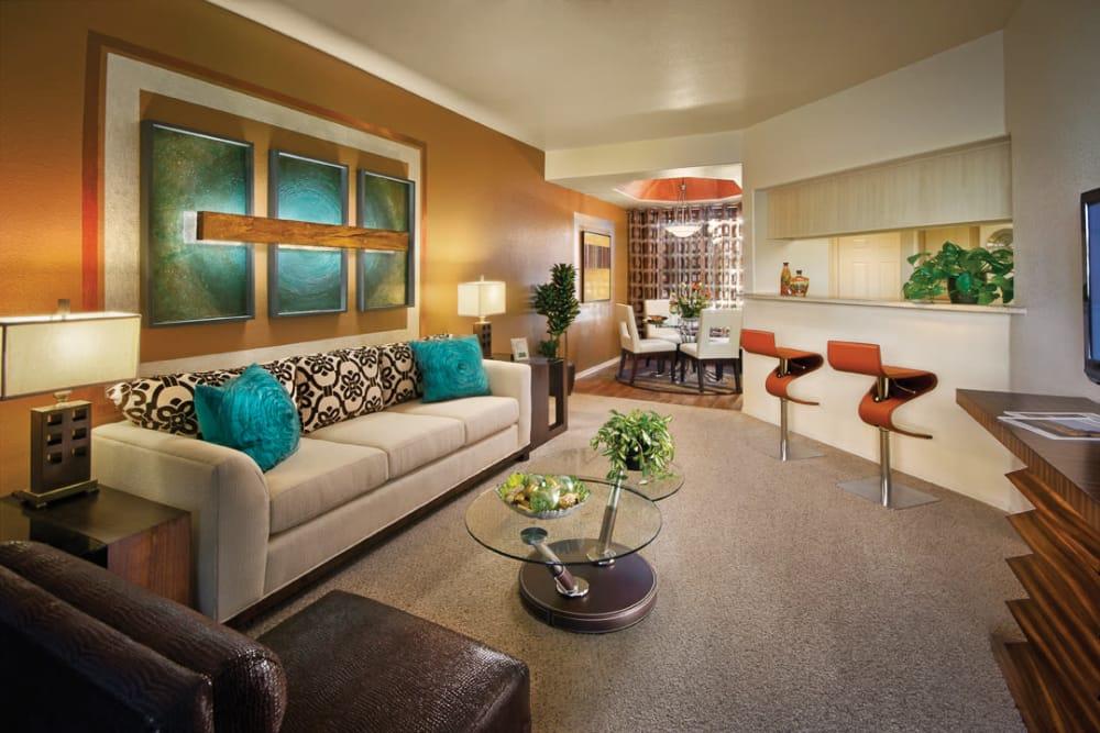 Modern decor in living area of model home at San Palmilla in Tempe, Arizona