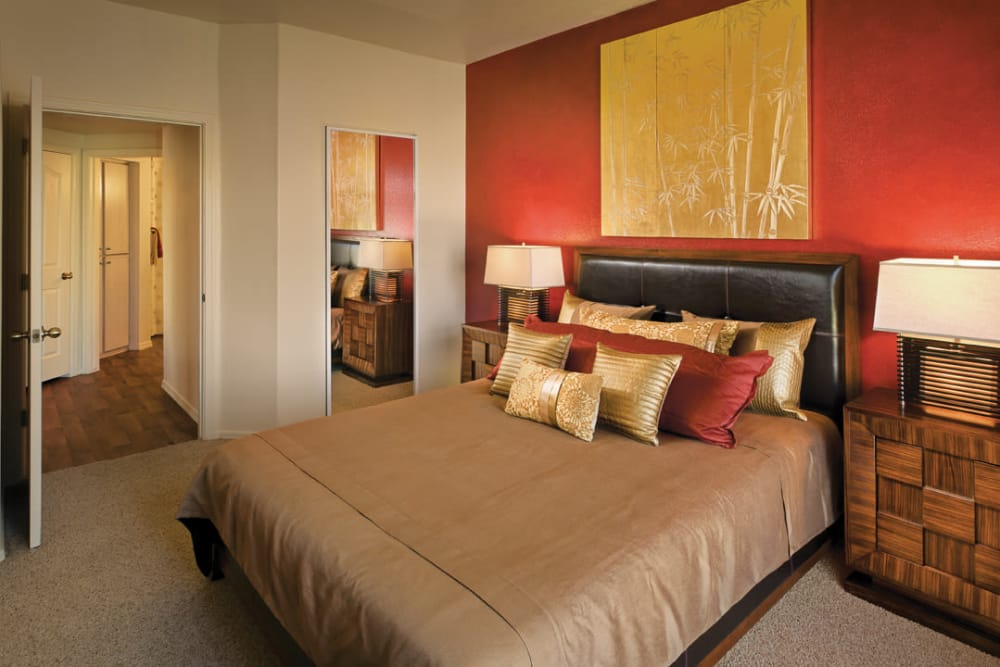 Large master bedroom with walk-in closet in model home at San Palmilla in Tempe, Arizona