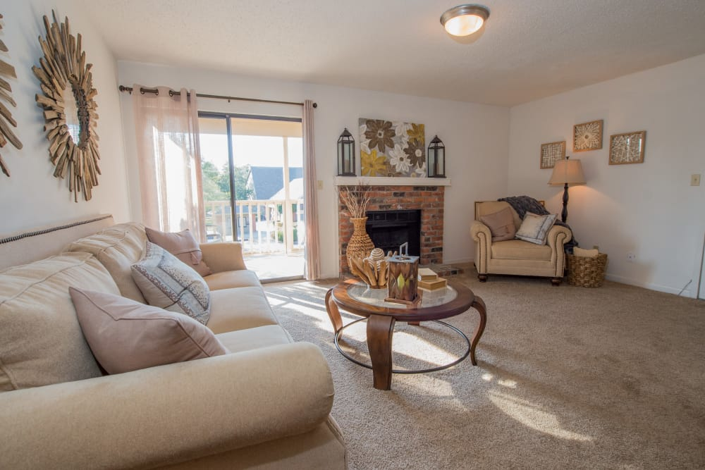 Bright living room at The Mark Apartments in Ridgeland, Mississippi