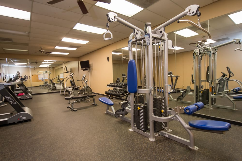 The Mark Apartments offers a fully equipped fitness center in Ridgeland, Mississippi