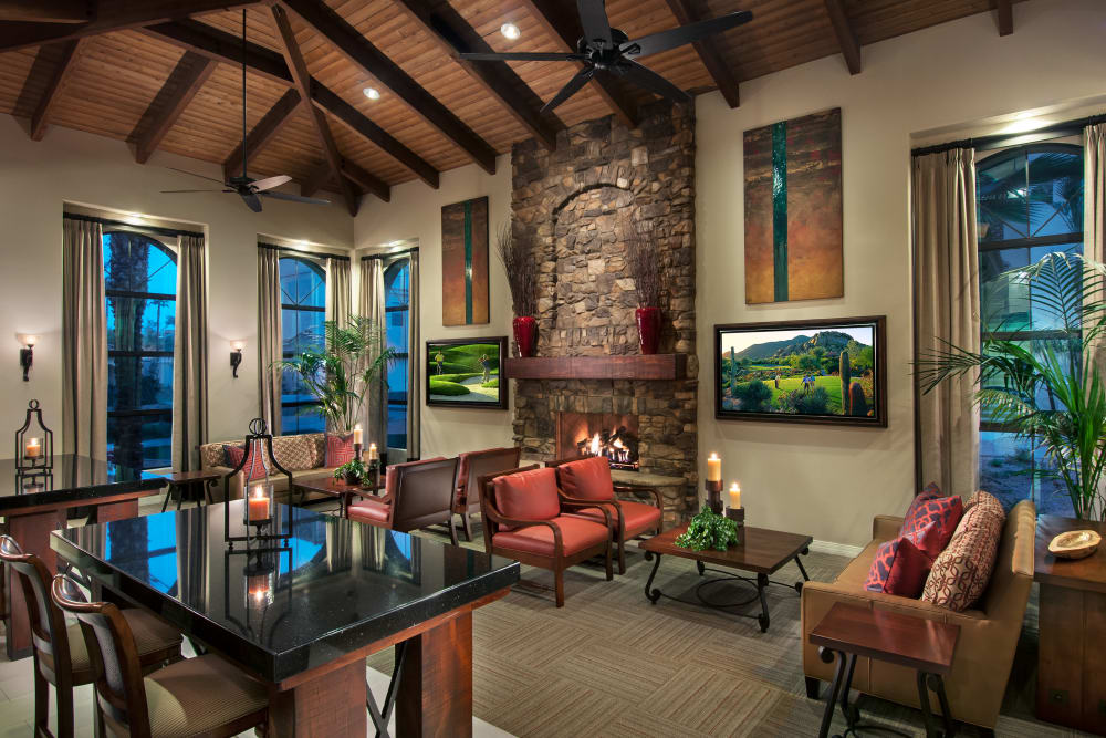 Contemporary decor in resident clubhouse at San Paseo in Phoenix, Arizona