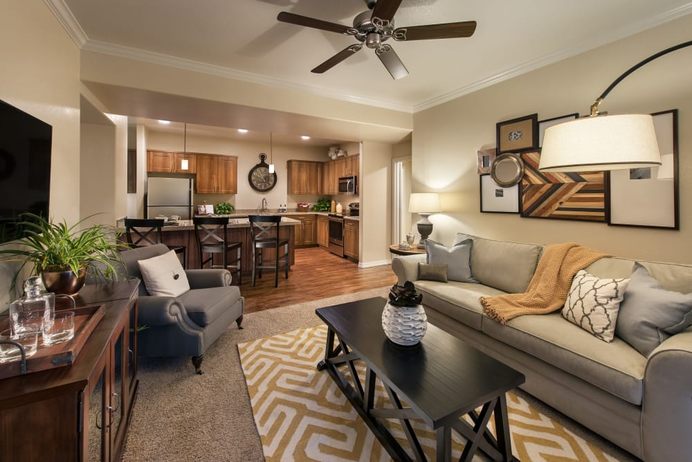 Ceiling fan and beautiful furnishings in model home's living area at San Paseo in Phoenix, Arizona