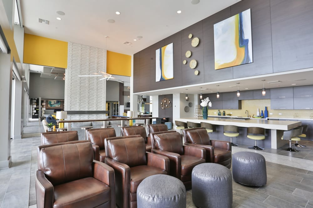 Resident clubhouse with theater seating at Slate Scottsdale in Phoenix, Arizona