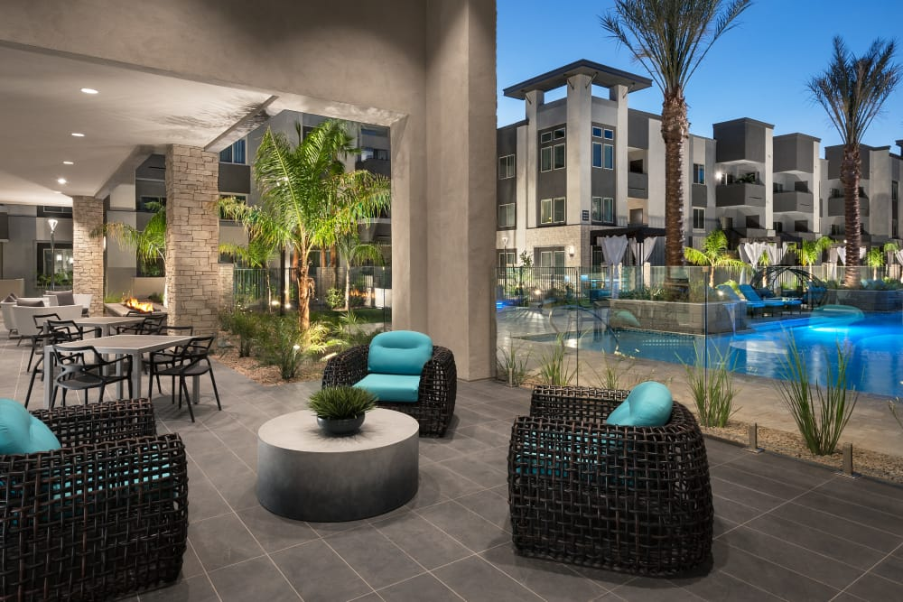 Comfortable outside patio seating at Aviva in Mesa, Arizona