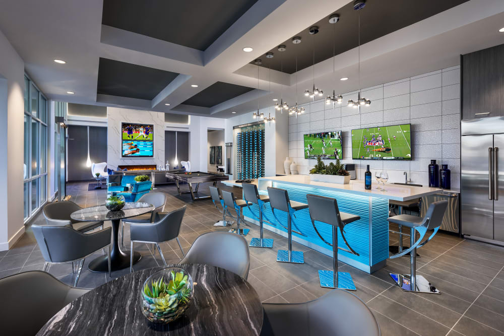 Contemporary decor in resident clubhouse at Aviva in Mesa, Arizona