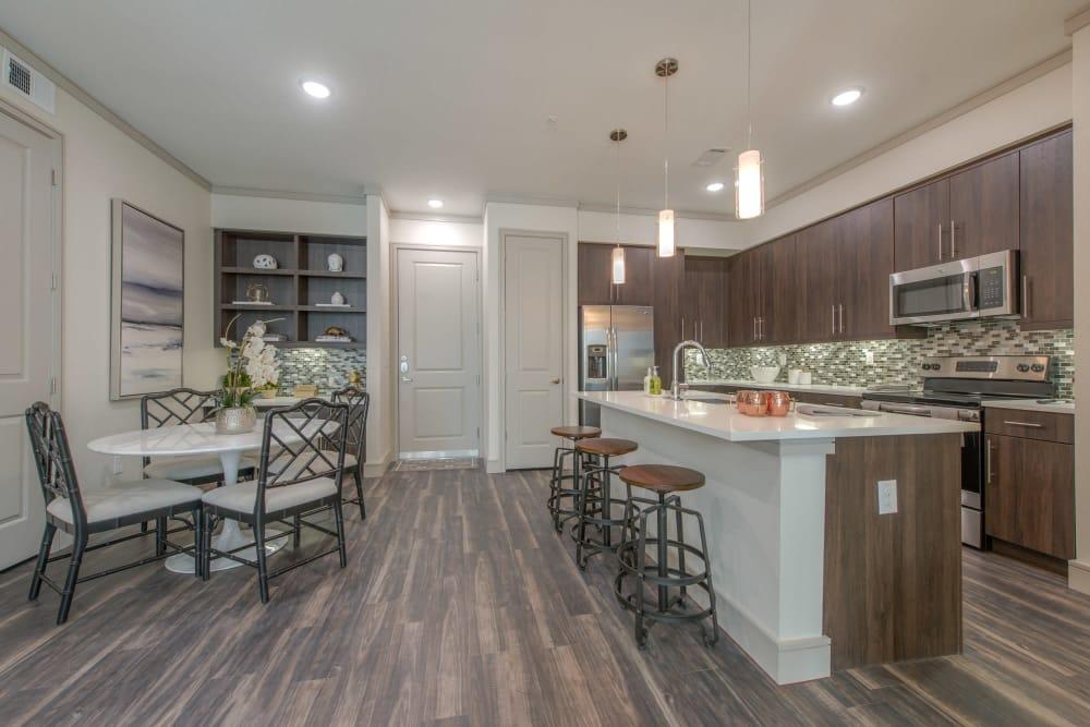 Modern kitchen at The Hamilton Apartments in Houston, Texas