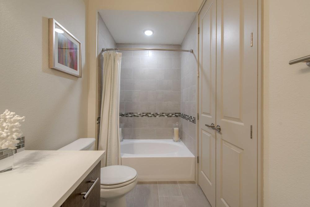 Luxury bathroom at The Hamilton Apartments in Houston, Texas