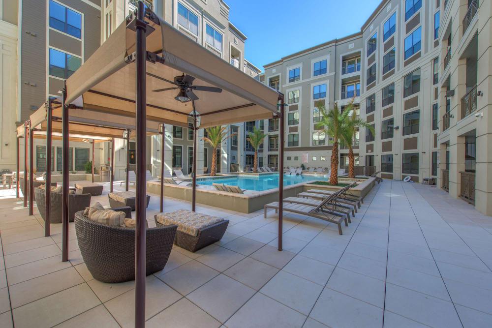 Modern swimming pool at The Hamilton Apartments in Houston, Texas
