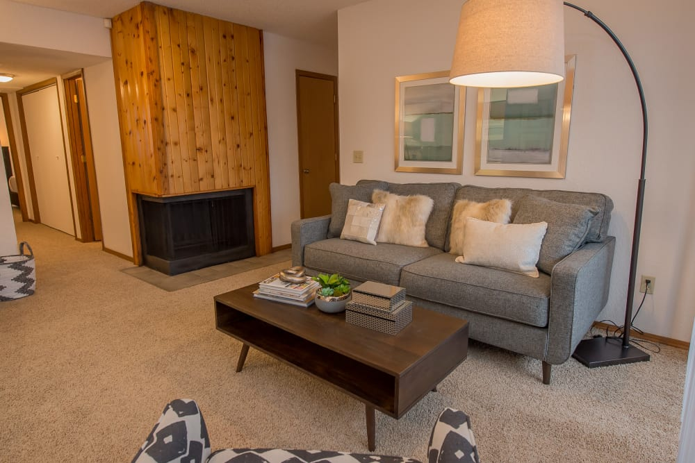 Spacious living area at Warrington Apartments in Oklahoma City, Oklahoma