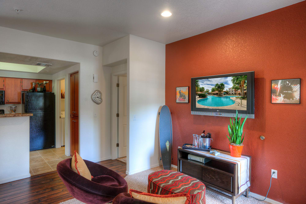 Beautiful open-concept floor plan with hardwood floors in model home at San Marbeya in Tempe, Arizona