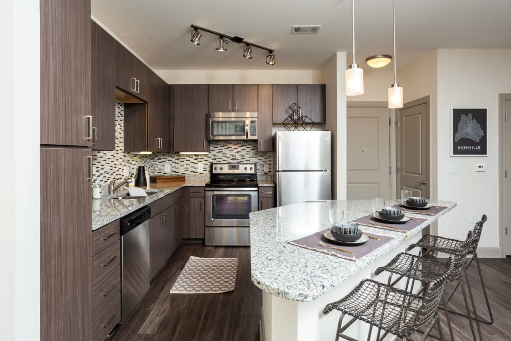 Enjoy a luxury kitchen at One Metrocenter in Nashville, Tennessee