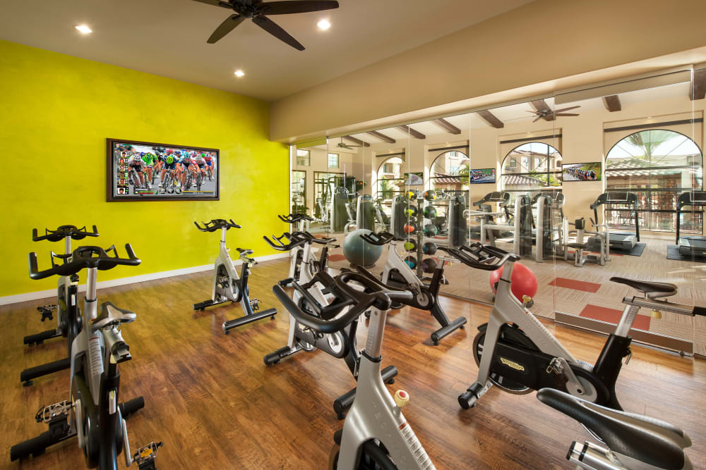 Onsite fitness center at San Capella in Tempe, Arizona