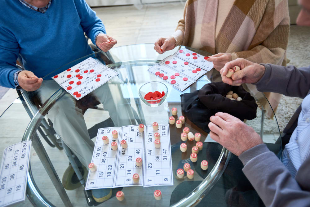 Residents playing a game at Marian Towers in Hoboken, New Jersey
