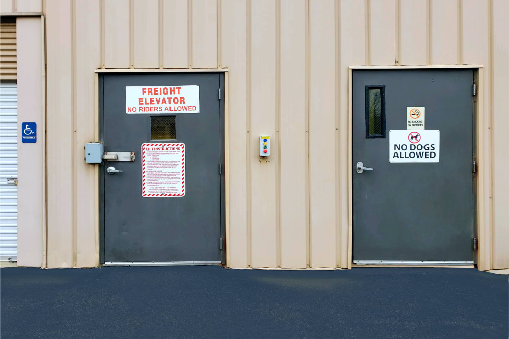 Back doors at Prime Storage in Bridgehampton, New York