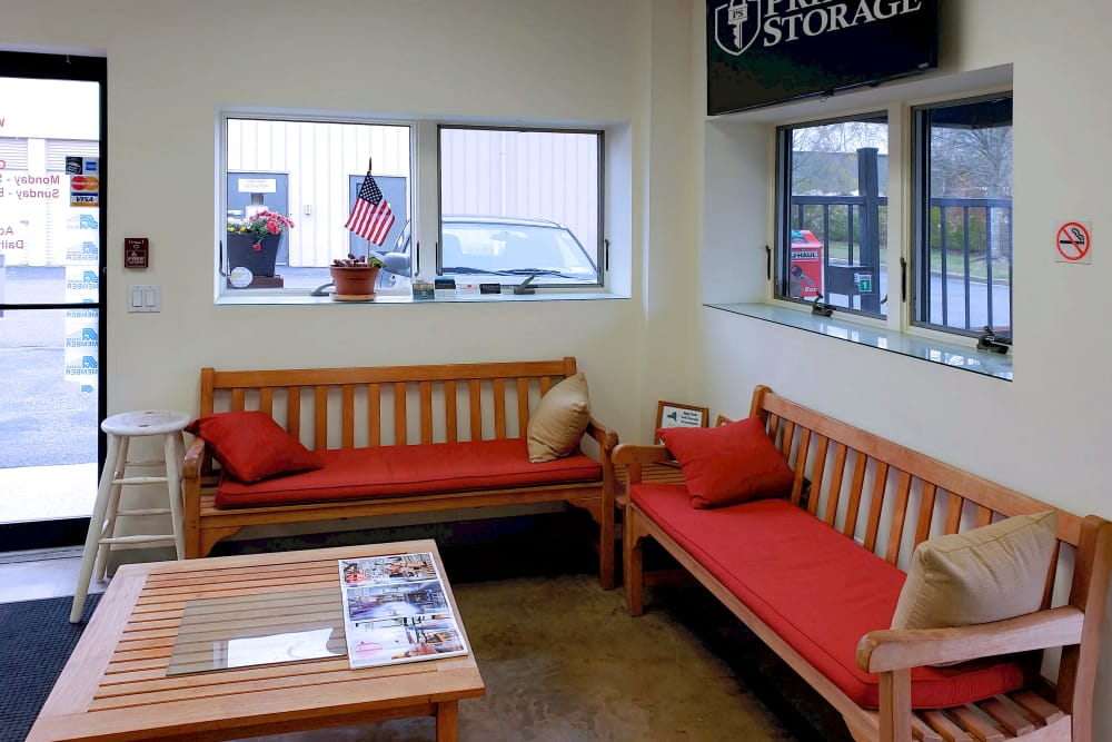 Waiting area at Prime Storage in Bridgehampton, New York