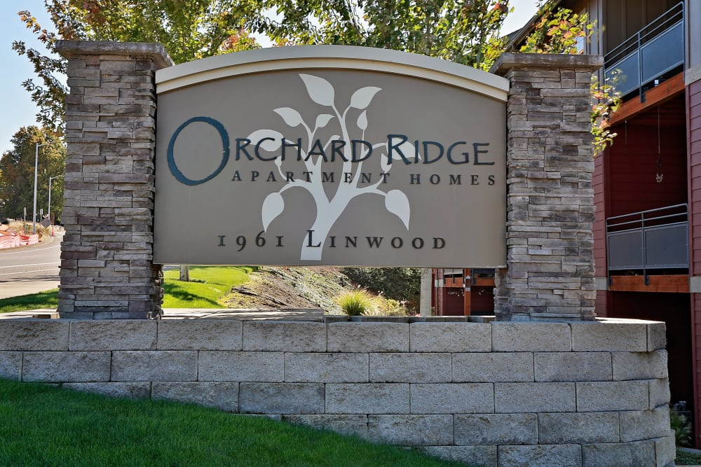 Monument sign at Orchard Ridge in Salem, Oregon