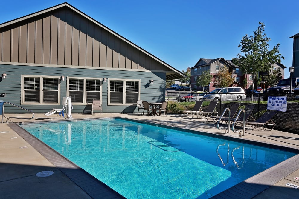 Refreshing swimming pool on a sunny day at Orchard Ridge in Salem, Oregon