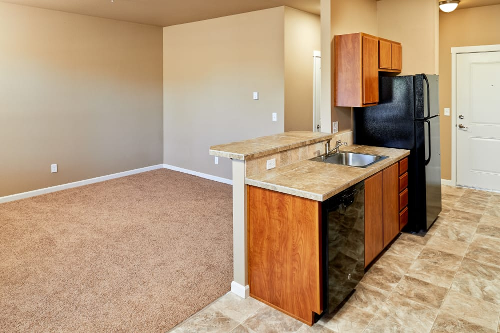 Enjoy a spacious kitchen and living room at Orchard Ridge in Salem, Oregon