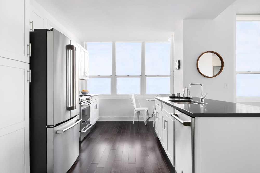 Kitchen with stainless steel appliances at Trump Bay Street in Jersey City, New Jersey