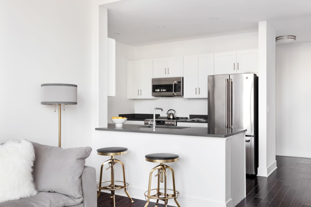 Open kitchen in apartment at Trump Bay Street in Jersey City, New Jersey