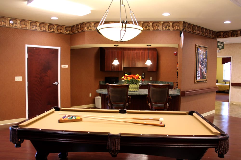 Billiards table in the game room at The Willows at Howell in Howell, Michigan