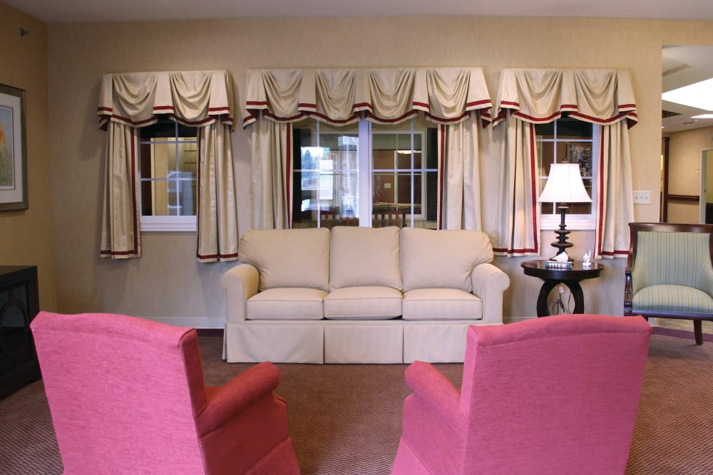 Comfortable lounge seating for residents at The Willows at Howell in Howell, Michigan