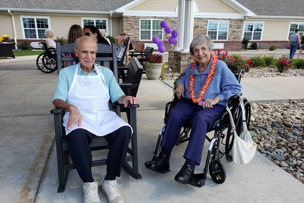 Residents enjoying the sunshine at The Willows at Howell in Howell, Michigan
