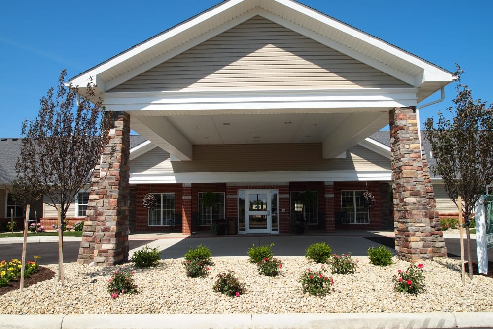 Building exterior and main entrance at The Willows at Willard in Willard, Ohio