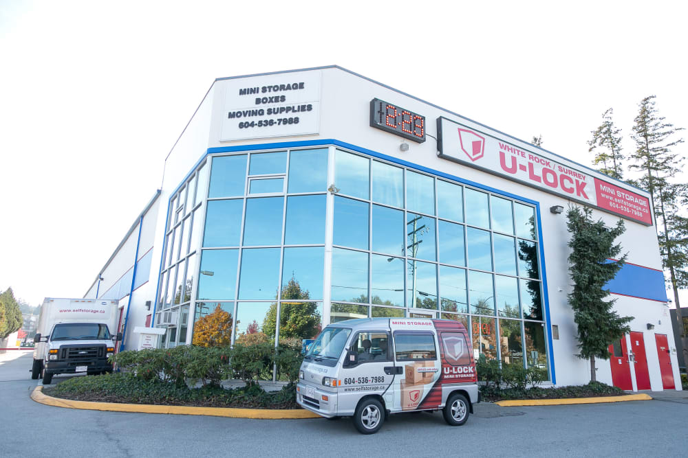 Store front and office at White Rock U-Lock Mini Storage in Surrey, BC