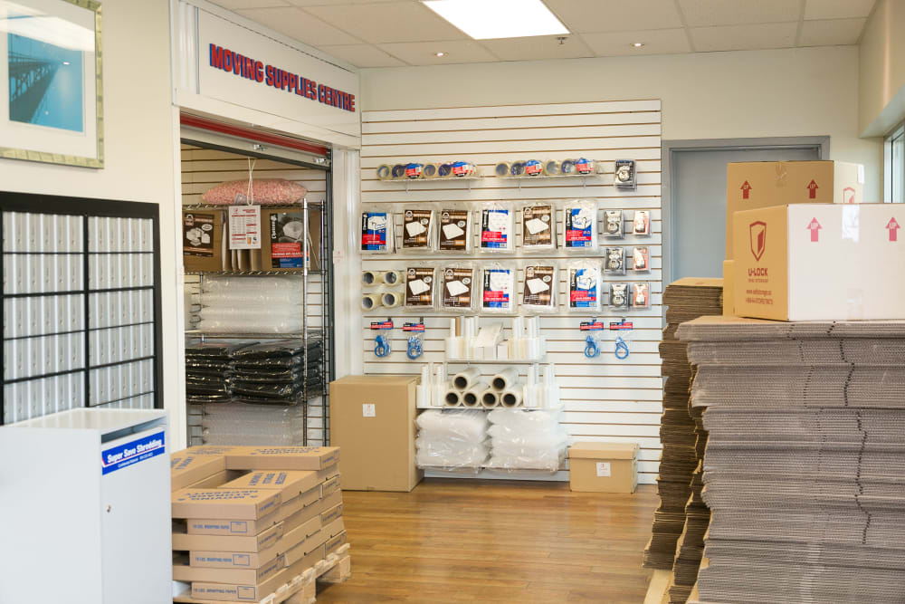 Office and merchandise at White Rock U-Lock Mini Storage in Surrey, BC
