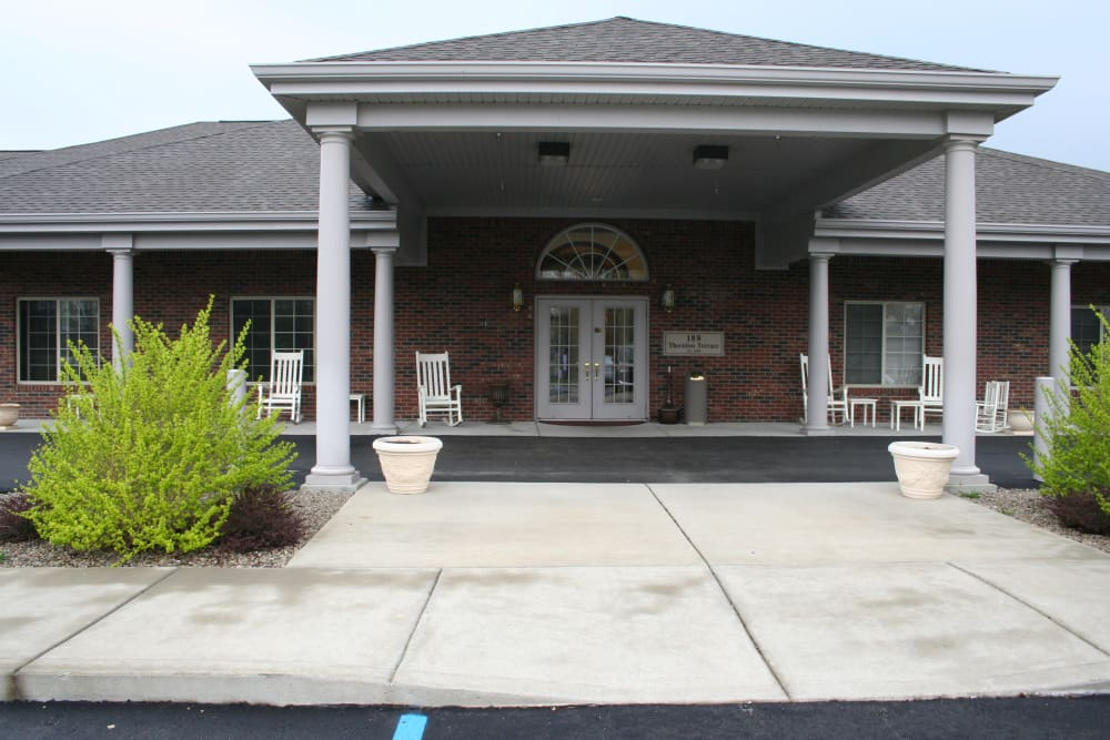 Building exterior and main entrance at Thornton Terrace Health Campus in Hanover, Indiana