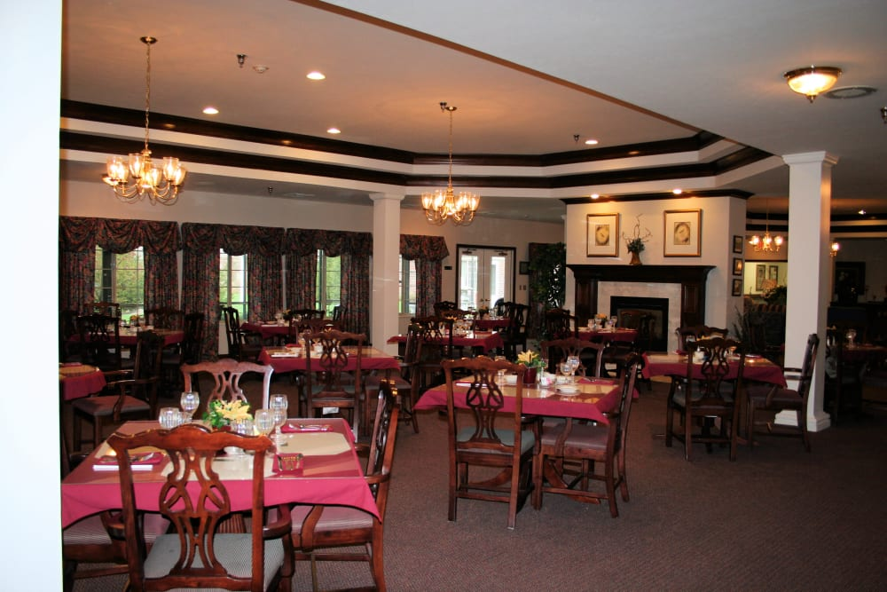 Community dining room for residents at Thornton Terrace Health Campus in Hanover, Indiana