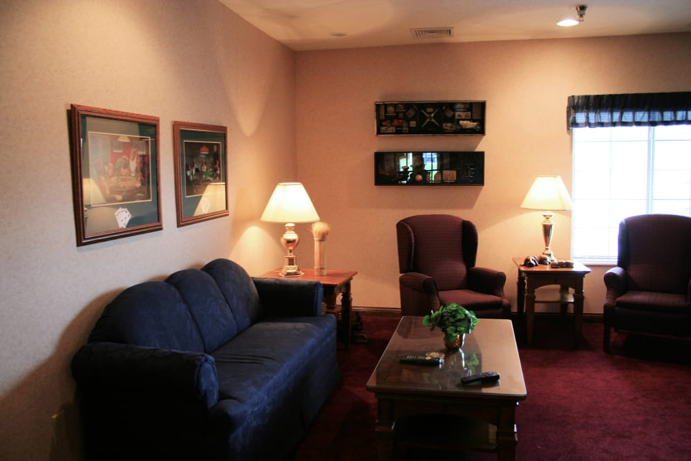 Residents living room with cozy seating at Thornton Terrace Health Campus in Hanover, Indiana