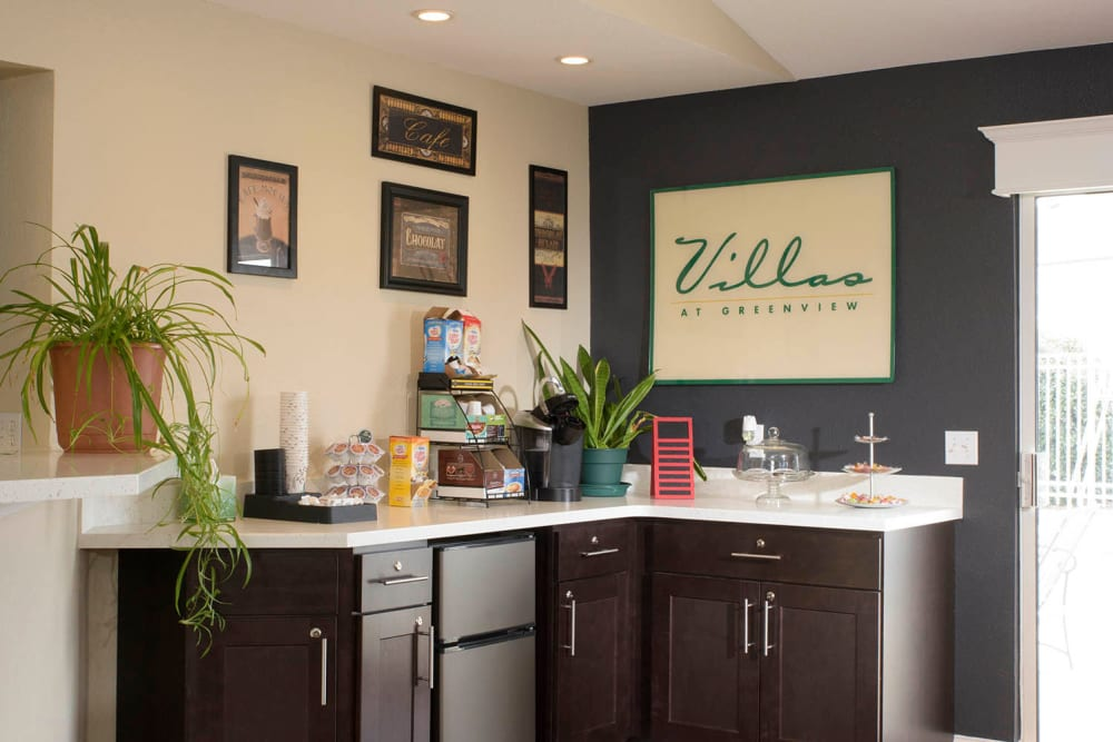 A coffee bar at Villas at Greenview West in Great Mills, Maryland