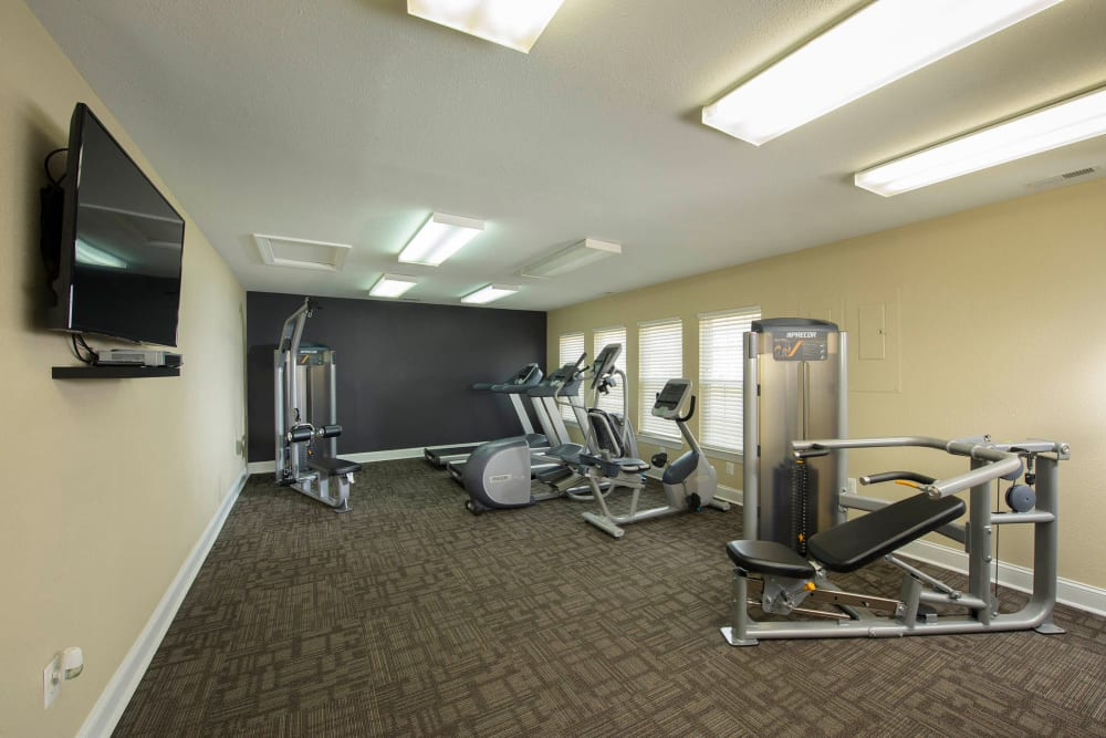 A spacious community gym at Villas at Greenview West in Great Mills, Maryland
