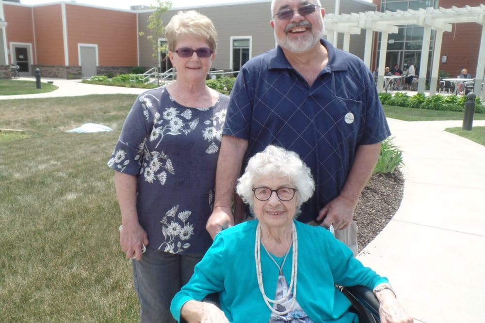 Happy residents with family at The Springs at Lafayette in Lafayette, Indiana