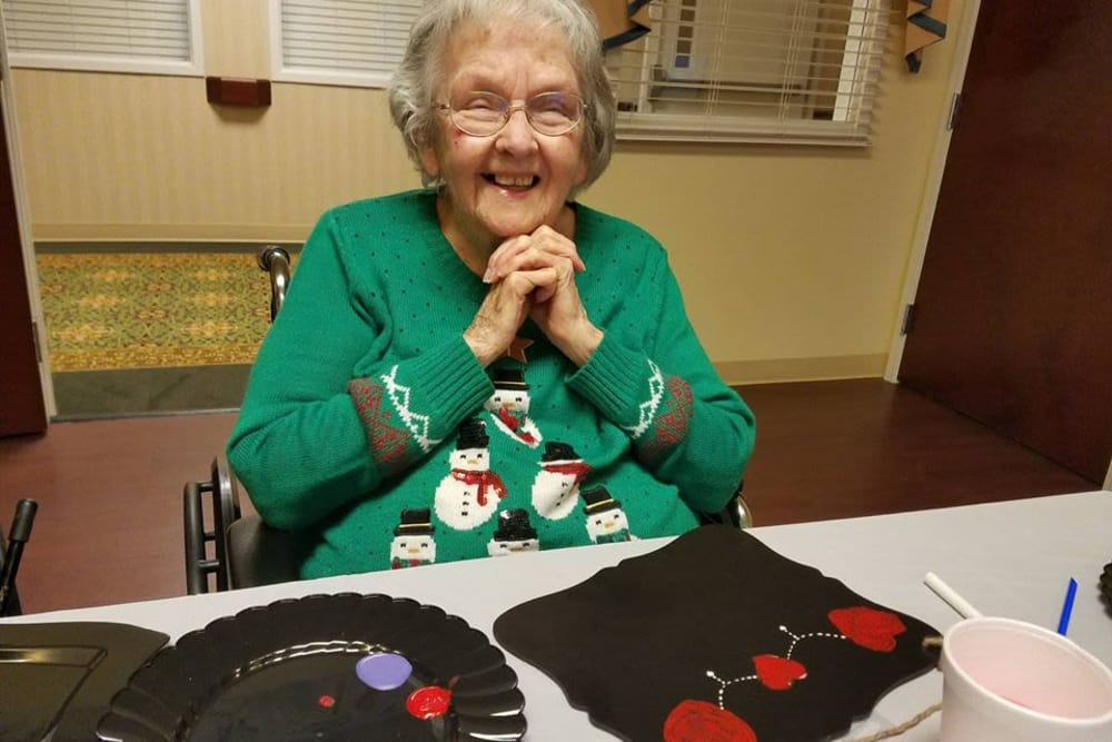 Resident doing Artwork at The Oaks at Bethesda in Zanesville, Ohio