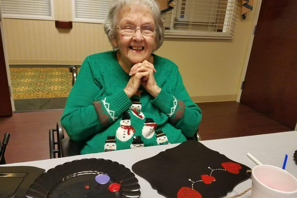 Resident doing Artwork at The Oaks at Bethesda in Zanesville, Ohio