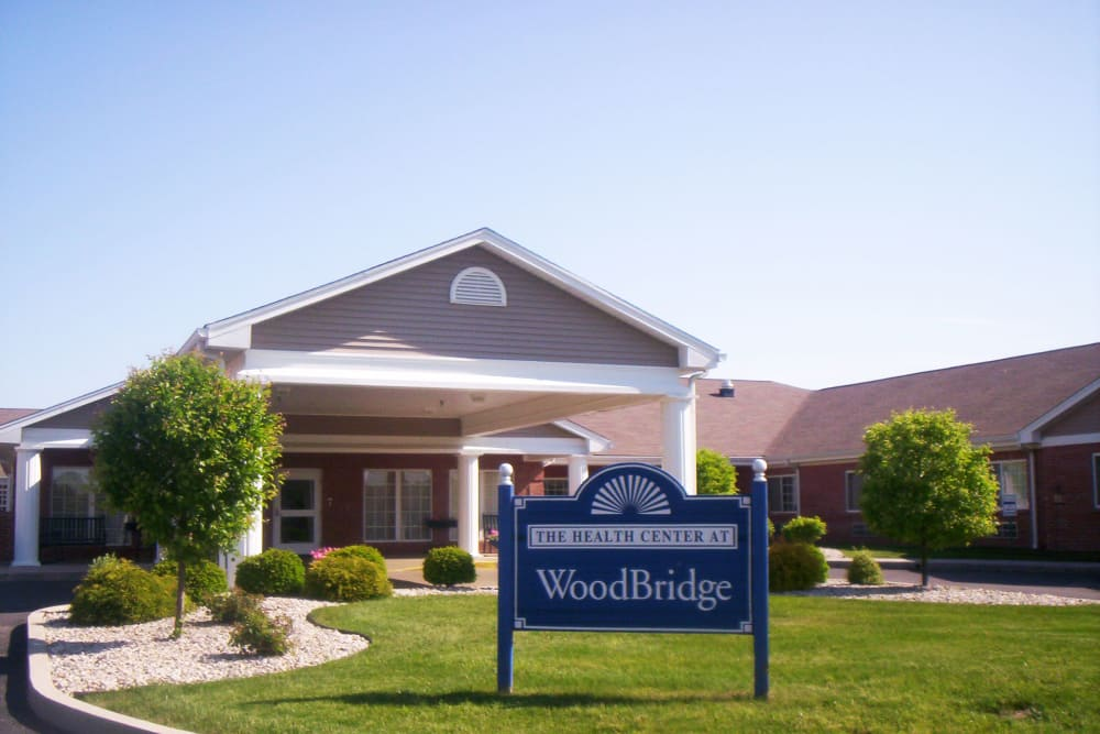 Branding and signage outside of Woodbridge Health Campus in Logansport, Indiana