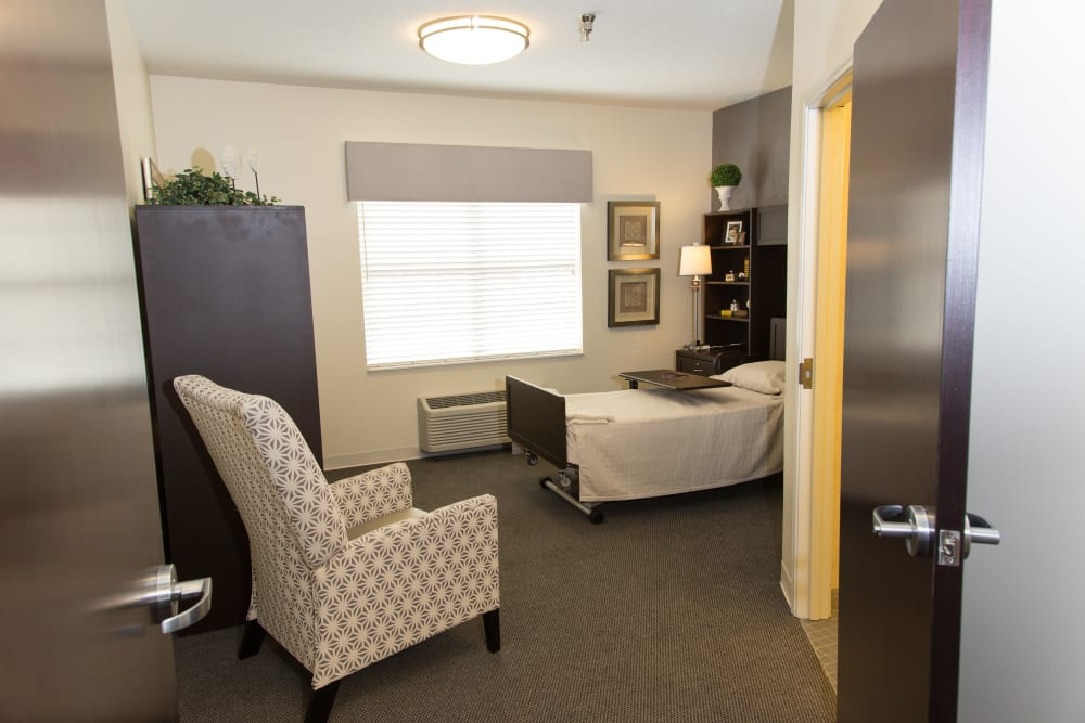 Bedroom at Senior Living Facility in Lima, Ohio