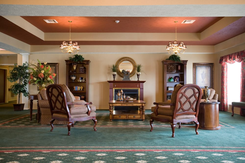 Fireside seating for residents at Woodmont Health Campus in Boonville, Indiana
