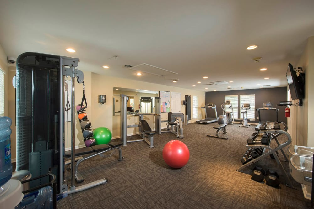 A spacious community gym at Park Villas Apartments in Lexington Park, Maryland