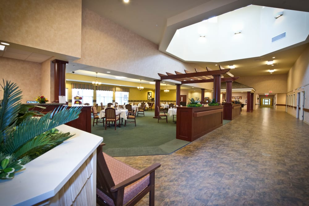 Hallway and community dining room at Cedar Creek Health Campus in Lowell, Indiana