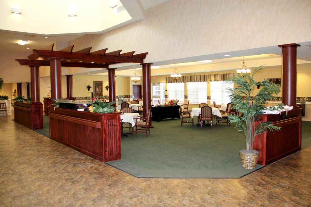 Community dining room at The Willows at Okemos in Okemos, Michigan
