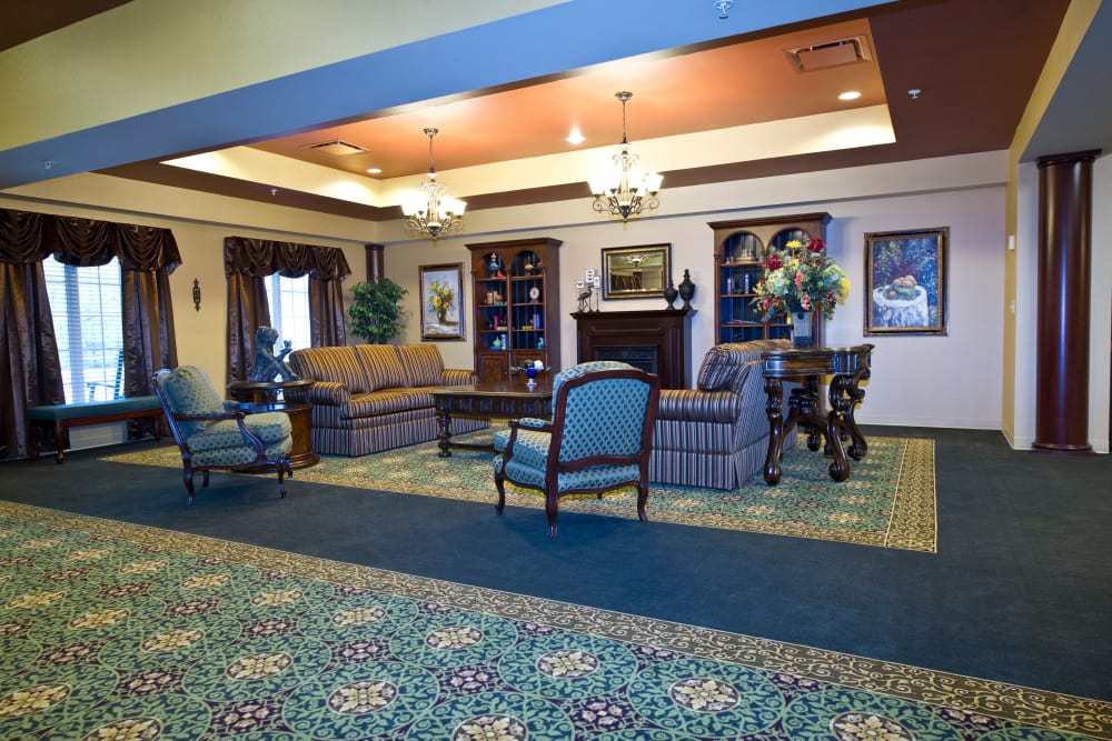 A cozy lounge for residents at The Willows at Okemos in Okemos, Michigan