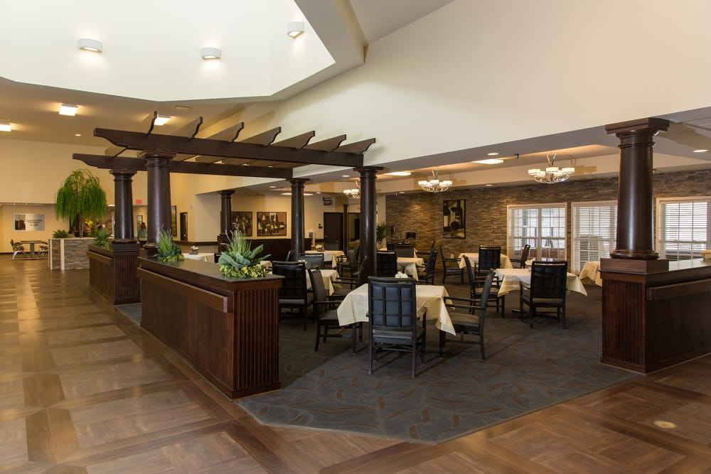 Large dining room at Novi Lakes Health Campus in Novi, Michigan