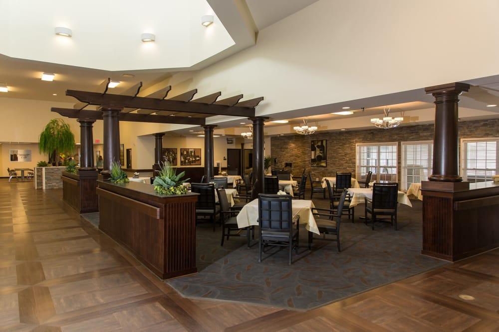 Large dining room at Novi Lakes Health Campus in Novi, Michigan