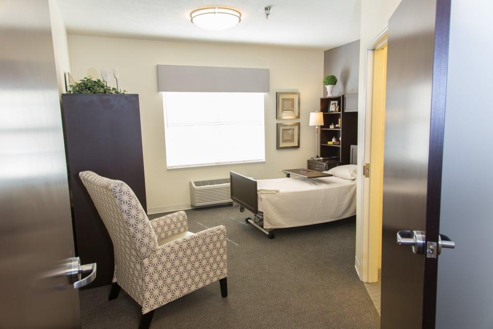 Studio apartment floor plan at Novi Lakes Health Campus in Novi, Michigan